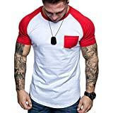 Big Sale! Tops for Men Quick Dry Slim Fit Patchwork Color Blocking Pocket Short Sleeve Summer Tee T-Shirt Top Blouse