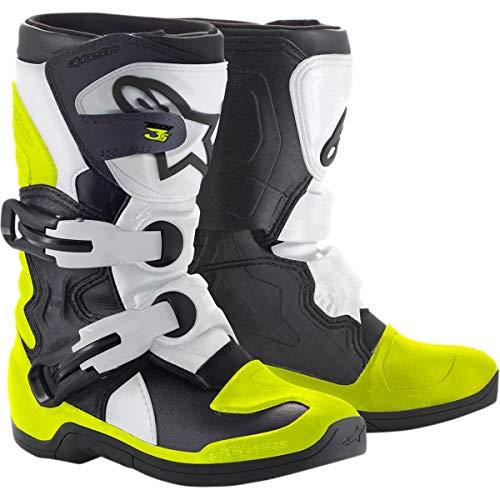 Alpinestars Botas De Mx Primera Infancia Tech 3S Negro-Blanco-Fluorescent (Eu 28 / Us 10 Ninos Pequeños, Blanco)