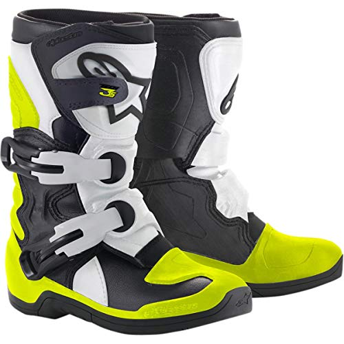 Alpinestars Kids Tech 3S Motocross Boot, Black/White/Yellow, 13