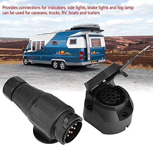 GXMZL stekkerdoos voor aanhangers, 12 V, 13 pins trailer, stopcontact, stekkeradapter, houder voor trailer, caravan, sleep, AHK