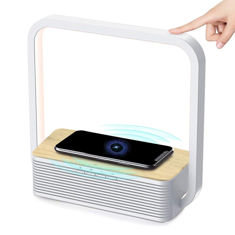 カニ実り多い暴力デスクライト 視力ケア LED電気スタンド Bluetoothスピーカー機能 ワイヤレス充電対応卓上ライト タッチ3階段調光付き電源アダプター付き 日本語説明書付き 1年間保証