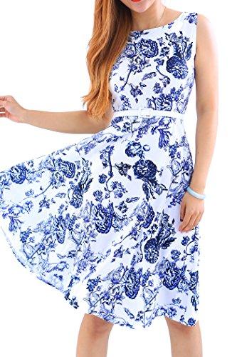 YMING Damen Partykleid KnielangVintage Kleid Blumenkleid Midi Sommerkleid Blau Blumen L/DE 40-42