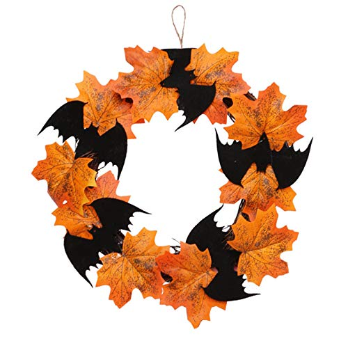 "Orgrimmar 10"" Halloween Maple Wreath Garland Artificial Maple Leaf Bats Vines Door Hanging for Halloween Party Thanksgiving Harvest's Day Decoration"