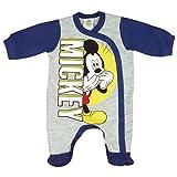 Jungen Baby-Strampler mit Füßchen UNGEFÜTTERT von Mickey Mouse in GRÖSSE 56, 62, 68, 74, blau, grau, Baby-Schlafanzug LANG-ARM mit Druck-Knöpfen durchgehend, Spiel-Anzug Color Blau,...