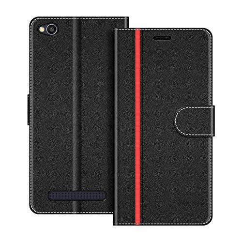 COODIO Handyhülle für Xiaomi Redmi 4A Handy Hülle, Xiaomi Redmi 4A Hülle Leder Handytasche für Xiaomi Redmi 4A Klapphülle Tasche, Schwarz/Rot