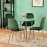 GOLDFAN Mesa de comedor redonda de cristal y 4 sillas, mesa de cocina moderna, patas de metal y sillas de terciopelo suave, juego de comedor de 80 cm (verde)