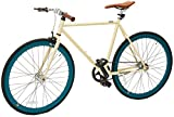 Retrospec Mini Mantra Fixie Bicycle with Sealed Bearing Hubs and Headlamp, Cream, 57cm/Large