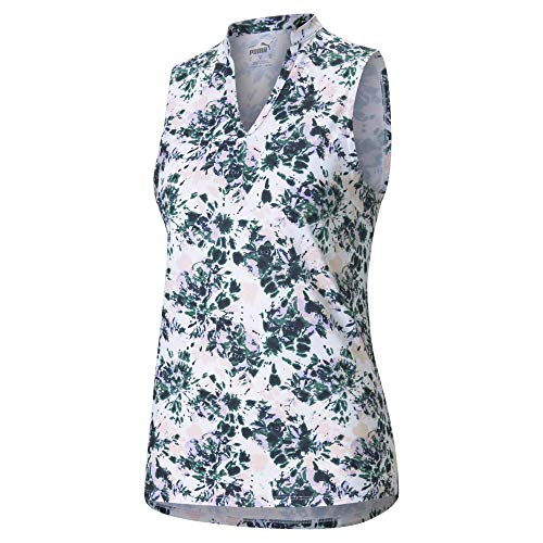 PUMA Polo sin Mangas para Mujer, diseño Floral, Talla Extra pequeña, Color Azul y Rosa
