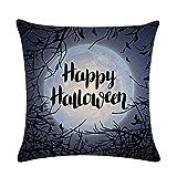 LQH De Halloween Spooky Bosque de la Luna Ronda Tire Suministros Funda de Almohada de algodón Decorativo del hogar Cuadrado de la Cubierta del Amortiguador del Horror del Partido de Lino (Size : 20)