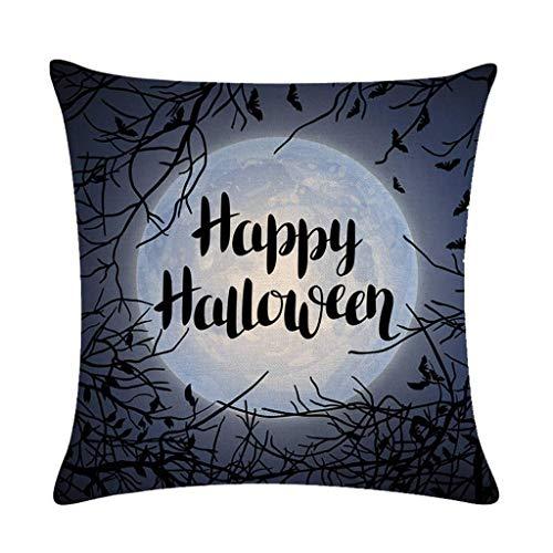 LQH De Halloween Spooky Bosque de la Luna Ronda Tire Suministros Funda de Almohada de algodn Decorativo del hogar Cuadrado de la Cubierta del Amortiguador del Horror del Partido de Lino (Size : 20)