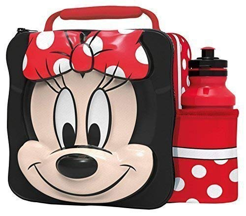 MINNIE MOUSE Kids Children 3D Lunch Box Bag With Sport Water Bottle