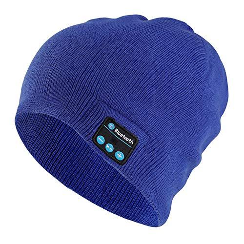 BoBoLily, Auriculares, auriculares inalámbricos, gorro Bluetooth, auriculares inteligentes de música, gorro de punto inalámbrico unisex (azul)