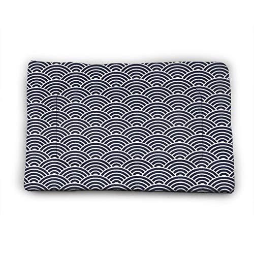 Medium Dog Bed Mat Wasbaar Krattenmatras 35 Inch Niet Slip Huisdier Kussen Pad Blauw Japanse Golven Blok Print Kussenslopen, 40