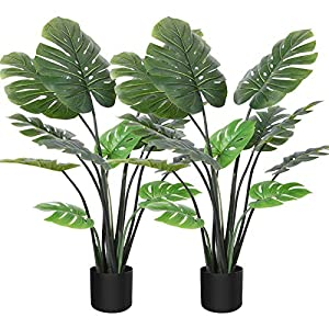 """Silk Flower Arrangements CROSOFMI Artificial Monstera Deliciosa Plant 47"""" Fake Tropical Palm Tree, Perfect Faux Swiss Cheese Plants in Pot for Indoor Outdoor House Home Office Garden Modern Decoration Housewarming Gift,2Pack"""