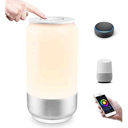 Lepro WiFi Smart Bedside Table Lamp, Compatible with Alexa and Google Home, Voice Control LED Night Light, Dimmable White & RGB Colour Changing Touch Lamp for Kids, Bedroom and More (2.4GHz Only)
