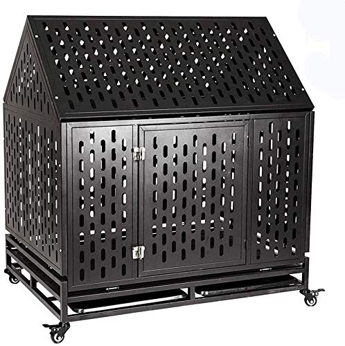 G-Aroma Cool Furniture Anti-Escape Dog Crate,Bite-Proof Dog Cage,Heavy Duty Dog Cage,Roof Dog Crate Cage Kennel,Easy to Install,One Door w/Metal Tray Grey45 inch,Black Basic Crates