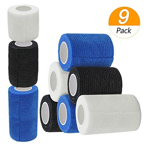 Erste Hilfe Bandage, Homgaty Elastische Binde Haftbandage Selbstklebende Bandagen Cohesive Bandage Sportverletzung Erste Hilfe Verband, 9 Stück