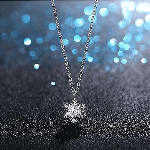 Sxcespp Tanabata Regalo Del Día De San Valentín Collar De Plata De Copo De Nieve De Cristal De Swarovski De Oro Blanco Dama Con Incrustaciones De Circón Joyas De Pareja Colgante 520 Regalo Regalo De C