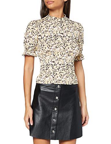 Miss Selfridge Yellow Short Sleeve High Neck Printed Tea Top Camicia da Donna, Giallo, 8