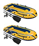 Intex Challenger 3 Inflatable Boat Set with Pump and Oars, 2 Pack | 2 x 68370EP