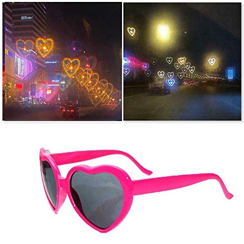 CJFHBVUQ Heart Shaped Love Effects Glasses, 3D Hearts Diffraction Glasses, Night Fashion Love Sunglasses, Women Toy Rose