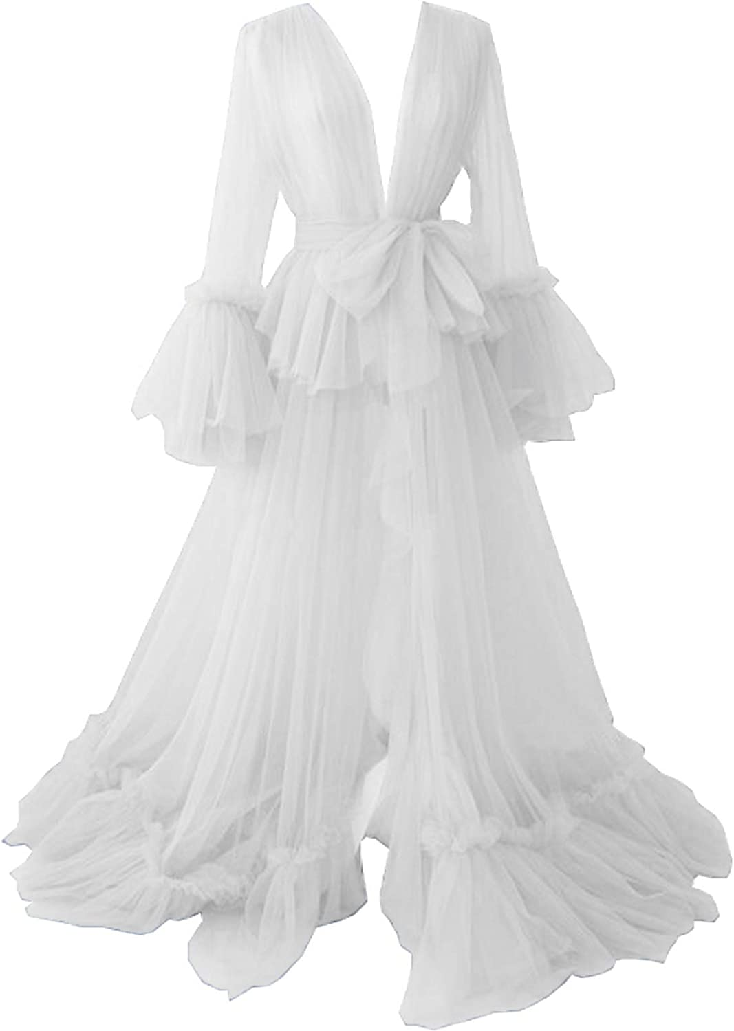 Tianzhihe Sexy Tulle Robe Long Illusion Maternity Photoshoot Bridal Lingerie Dressing Gown Nightgown