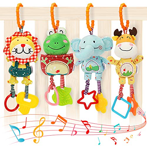 TUMAMA Baby Toys for 0, 3, 6, 9, 12 Months, Handbells Baby Rattles, Soft Plush Early Development Stroller Car Toys for Infant, Newborn Birthday Gifts, 4 Pack
