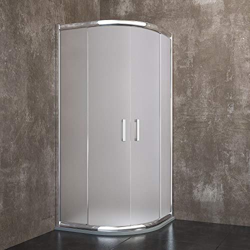 Box Cabina Doccia Vancouver Semicircolare Angolare In Alluminio Anodizzato, Cristallo Anti infortunistico Temperato Satinato Da 6 MM E Maniglie In Acciaio Cromato (90 x 90 x 185 cm)