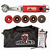 King Arthur's Tools Universal Carving Set, MERLIN2 Handheld Variable Speed Mini Angle Grinder Power Tool with 6 Accessories – For Woodworking, Cutting, Sanding, Grinding, Carving, Engraving # 10005