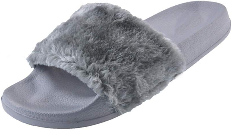 Nafanio Casual Slippers Footwear Women Flat Soft Fur Slip Slides Indoor Outdoor Flat Platform shoes Black