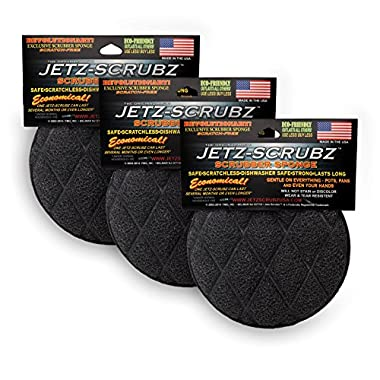 Jetz-Scrubz Scrubber Sponge, J22/3, Round, Set of 3, Made in the USA