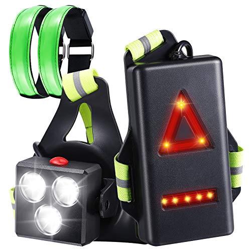 Homealexa Luz para Correr Running, Luz del Pecho, Recargables USB Impermeable, 2 Modos 500 Lúmenes x 3LEDS, luz Trotar, Pescar, Acampar, pasear Perros y más