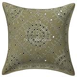 Stylo Culture Espejo Indio Bordado sofá cojín de algodón Cubierta Verde 16x16 Resumen Funda de cojín