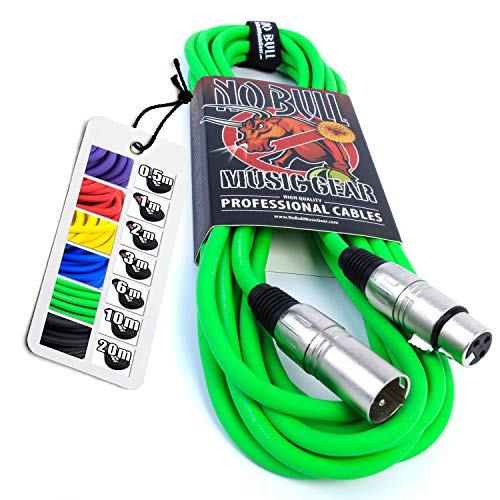 Nordell No Bull Music Gear' Premium XLR Cable (Green, 6m): Achieve a Clearer Audio Signal with a...