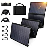 Keshoyal Foldable Solar Panel – 60W Portable Solar Panels with 5V USB and 18V DC for Camping,Cell Phone,Tablet and 5-18V Devices – Compatible with Solar Generators Power Stations