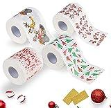 Philip Stuart 4 Rollos de Papel higiénico con diseño navideño de Papá Noel, Papel higiénico para baño, Suministros de Navidad, decoración de Navidad