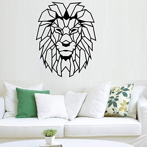 Tianpengyuanshuai Geometrische Löwenkopf Wandaufkleber Tier Hauptdekoration Vinyl Kunst Aufkleber Wandbild Kinderzimmer Dekoration Tapete62X50cm