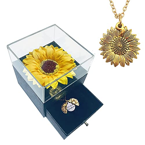 Artificial Sunflower Gifts for Women Her Daughter Girlfriend Wife Mom Friends Sisters Aunt, You are My Sunshine Necklace with Gift Box for Birthday Wedding Mother's Day Xmas Present
