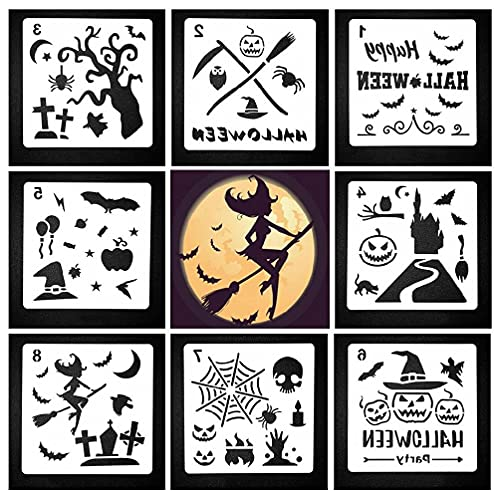 Juego de plantillas de plástico para Halloween, 8 piezas, diseño artístico, pintura, molde de decoración reutilizable