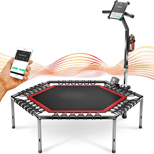 Messe-Neuheit 2020! Smart Fitness Trampolin, inkl. Pulsgurt, Trainings-Video, Sprungzähler & APP, klappbar, höhenverstellbarer Haltegriff mit Handy- & Flaschenhalterung, HTX100 Indoor Jumping Workout