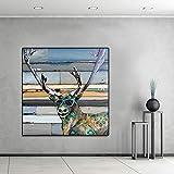 N / A Peinture sans Cadre Mur Art Image Animaux Portant des Lunettes Bois De Cerf Salon Décoration de La MaisonZGQ7582 50x50 cm