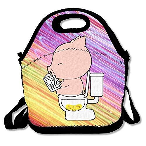Jacklee Lunch Tote Poop Goud Piggy Lunch Boxen Lunch Tassen Handtas Voedsel Opslag Past voor School Reizen Werk Outdoor