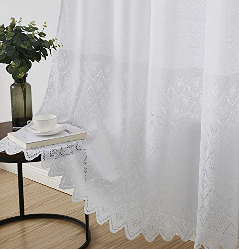 HLC.ME Monaco Premium Soft Decorative Ombre Lace Semi Sheer Light Filtering Rod Pocket Window Treatment Curtain Drapery Panels for Bedroom & Living Room - Set of 2 Panels (54 x 96 inches Long, White)