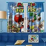 Super Mario Cortina de ventana fácil de instalar (Mario recoge el tenis), poliéster, Color03, W72 x L84 Inch