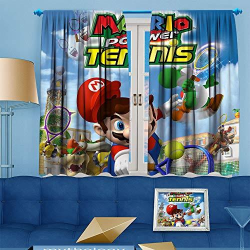 DILITECK Hintergrundvorhang für Schlafzimmer, Dekoration, skizzische 3D-Figur, Super Mario, Fenstervorhänge, Druck, Terrassentür-Vorhänge, Wohnzimmerdekoration, B 183 x L 213 cm, Mario Power Tennis