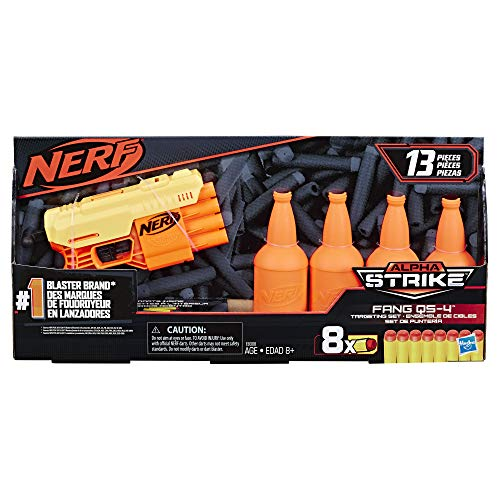 Nerf Alpha Strike Fang QS-4 Targeting Set, 13-Piece Set Includes Toy Blaster, 4 Half-Targets, and 8 Official Nerf Elite Darts, For Kids Ages 8 And Up (E8308)