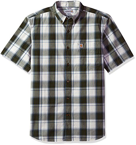 Carhartt Herren Big & Tall Essential Plaid Button Down Collar SS Shirt Work Utility Hemd, olivgrün, Mittel
