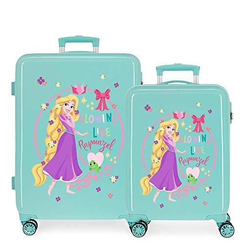 Disney Princess Celebration Suitcase Set Green 55/68 cm Rigid ABS Side Combination Lock 104L 2.7 kg 4 Double Wheels Hand Luggage