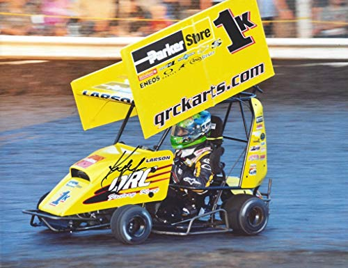 AUTOGRAPHED 2006 Kyle Larson #1K QRC Karts Racing (On-Track Dirt Race) Vintage Childhood Signed Collectible Picture NASCAR 9X11 Inch Glossy Photo with COA