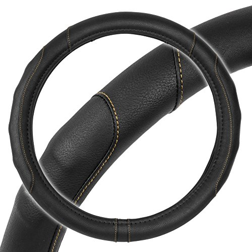 Motor Trend GripDrive Pro Synthetic Leather Auto Car Steering Wheel Cover Black w/Beige Accent Stitching Comfort Grip - Small 13.5 to 14.5 inch - SW-761-BG-S_AM
